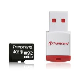 Transcend 4GB microSDHC Class 10 with Card Reader - TS4GUSDHC10-P3
