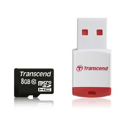 Transcend 8GB microSDHC Class 10 with Card Reader - TS8GUSDHC10-P3