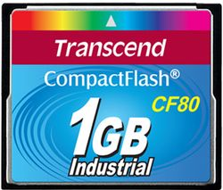 Transcend 1GB Industrial CF Card (80X) with PIO mode - TS1GCF80-P