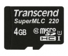 Transcend 4GB microSDHC220I Industrial with SuperMLC&U1 Speed - TS4GUSD220I