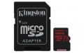 Kingston 128GB microSDXC UHS-I Class 3 (V30) Canvas React with SD Adapter - SDCR/128GB